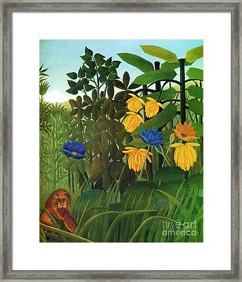 Repast Of The Lion Framed Print by Pg Reproductions