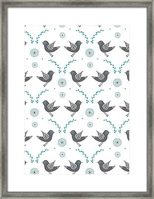Repeat Lovebird Framed Print by Susan Claire