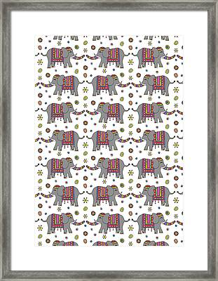 Repeat Print - Indian Elephant Framed Print by Susan Claire