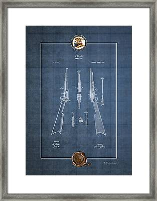 Repeating Rifle Lubrication Method By S. Colt - Vintage Patent Blueprint Framed Print