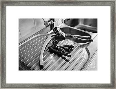 Replacing A Household Kitchen Tap Framed Print by Joe Fox