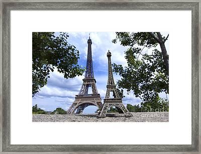 Replica Eiffel Tower Next To The Real Eiffel Tower Framed Print by Bernard Jaubert
