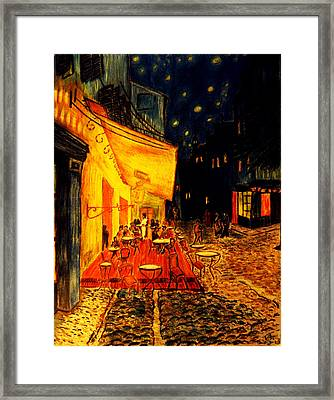 Replica Of Van Gogh's Cafe At Night Framed Print by Jose A Gonzalez Jr