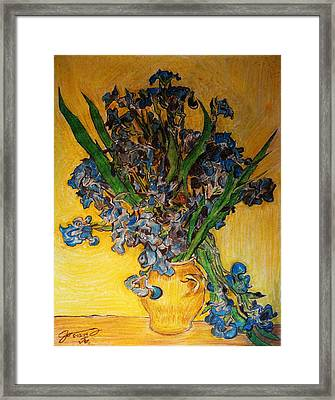 Replica Of Vincent's Still Life Vase With Irises Against A Yellow Background Framed Print
