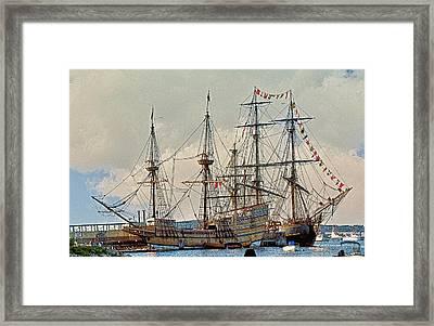 Replica Ships Mayflower And Hms Bounty Framed Print