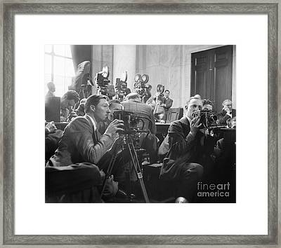Reporters Filming Law Hearings, 1939 Framed Print by Library Of Congress