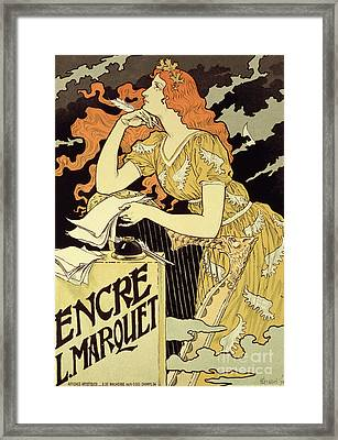 Reproduction Of A Poster Advertising 'marquet Ink' Framed Print by Eugene Grasset