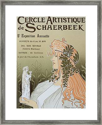 Reproduction Of A Poster Advertising 'schaerbeek's Artistic Circle Framed Print by Livemont