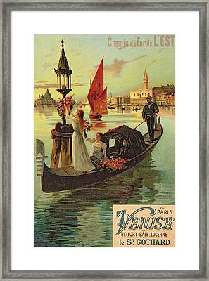 Reproduction Of A Poster Advertising The Eastern Railway From Paris To Venice  Framed Print by Hugo dAlesi