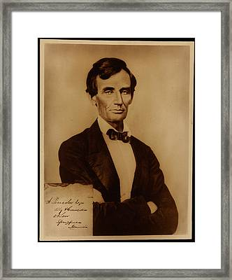 Reproduction Print Of Lincoln With Signature Inserted August 13 1860 Framed Print by MotionAge Designs