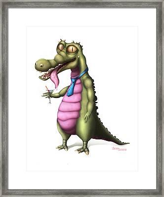 Reptile Enjoying Martini Framed Print by Sachin Sachdeva