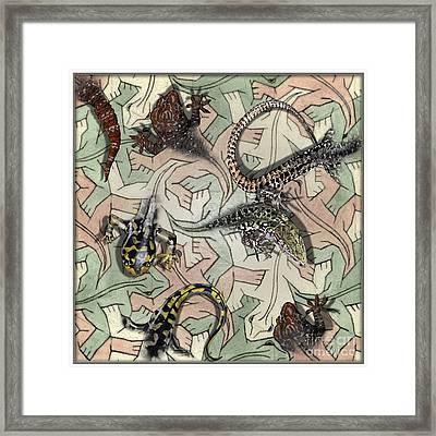 Reptiles - Inspired By Escher - Elena Yakubovich Framed Print by Elena Yakubovich