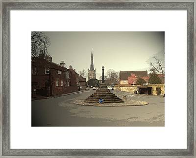 Repton Cross, This Spot Marks The Place Where Christianity Framed Print by Litz Collection
