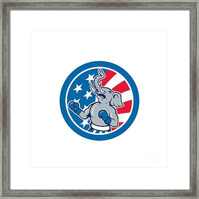 Republican Elephant Boxer Mascot Circle Cartoon Framed Print
