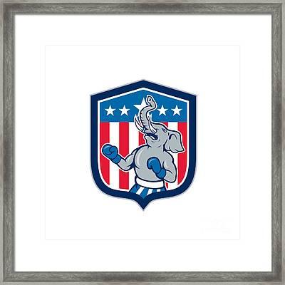 Republican Elephant Boxer Mascot Shield Cartoon Framed Print
