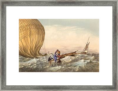Rescue At Sea Of Downed Balloonists Framed Print by Unknown