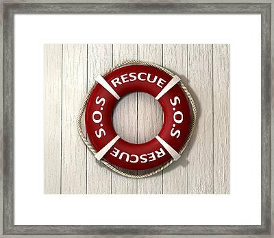 Rescue Lifebuoy Framed Print by Allan Swart