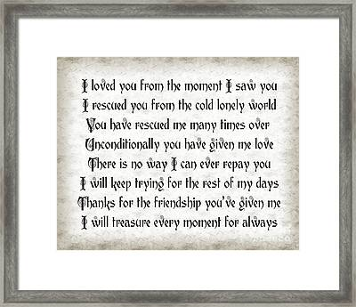 Rescue Love Framed Print