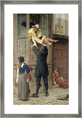 Rescued From The Plague, London 1665, 1898 Oil On Canvas Framed Print by Frank Topham