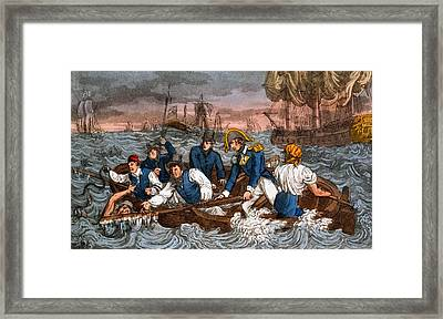 Rescuing A Sailor From The Sea Framed Print by Charles Williams
