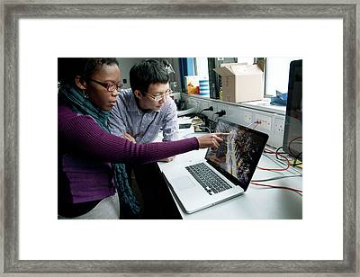 Research Students Studying Robotcar Framed Print by John Cairns/oxford University Images