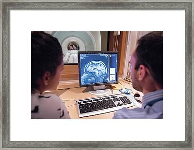 Researchers Looking At Brain Imaging Data Framed Print by John Cairns Photography/oxford University Images