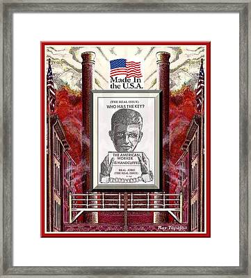 Framed Print featuring the digital art Reshoring The American Dream by Ray Tapajna