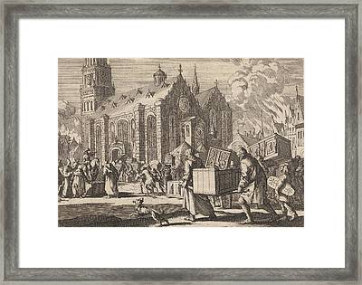 Residents Of Spiers Bringing In Good Faith Their Furniture Framed Print by Jan Luyken And Pieter Van Der Aa I