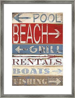 Resort Beach Sign Framed Print