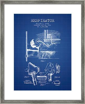 Respirator Patent From 1911 - Blueprint Framed Print by Aged Pixel