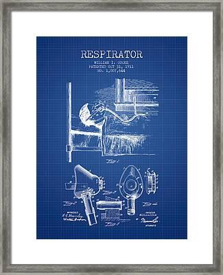 Respirator Patent From 1911 - Blueprint Framed Print