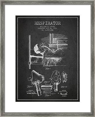 Respirator Patent From 1911 - Charcoal Framed Print by Aged Pixel