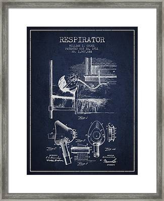 Respirator Patent From 1911 - Navy Blue Framed Print by Aged Pixel