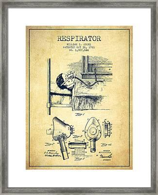 Respirator Patent From 1911 - Vintage Framed Print