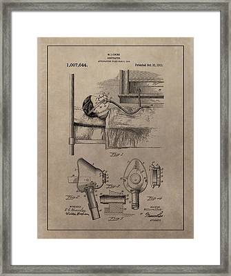 Respirator Patent Illustration 1911 Framed Print by Dan Sproul
