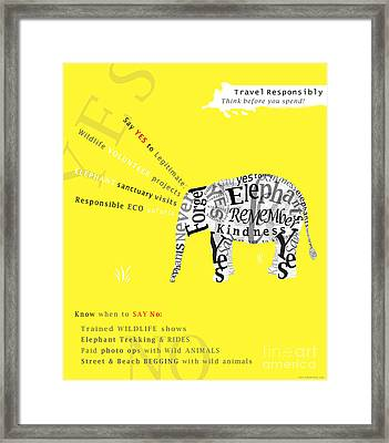 Responsible Tourism Elephant Typography Poster Framed Print