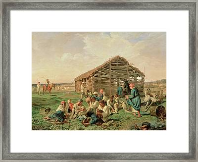 Rest During Haying Framed Print by Aleksandr Ivanovich Morozov
