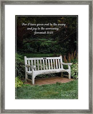 Rest For The Weary Framed Print by Sara  Raber