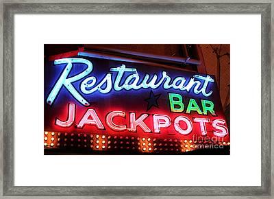 Restaurant Bar Jackpots Framed Print