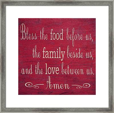 Restaurant Blessing In Red Framed Print by Dan Sproul
