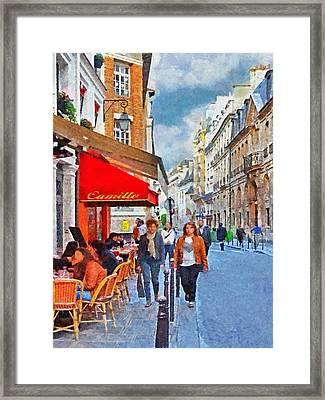 Restaurant Camille In The Marais District Of Paris Framed Print