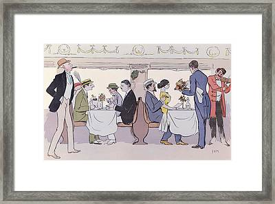 Restaurant Car In The Paris To Nice Train Framed Print by Sem