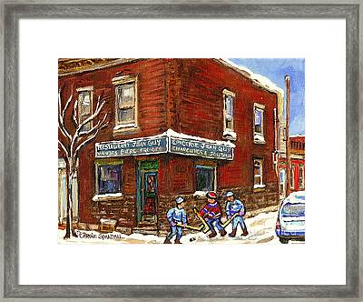 Restaurant Epicerie Jean Guy Pointe St. Charles Montreal Art Verdun Winter Scenes Hockey Paintings   Framed Print