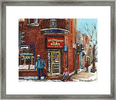 Restaurant John Framed Print by Carole Spandau