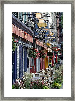 Restaurant Le Cochon Dingue In The Old Port Of Quebec City Framed Print by Juergen Roth