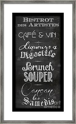 Restaurant Menu Framed Print by Marion De Lauzun