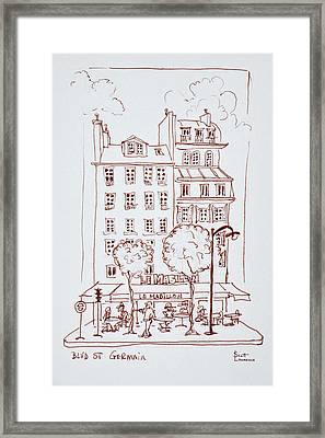 Restaurant On Boulevard Saint-germain Framed Print