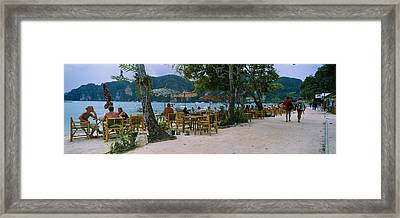 Restaurant On The Beach, Ko Phi Phi Framed Print by Panoramic Images