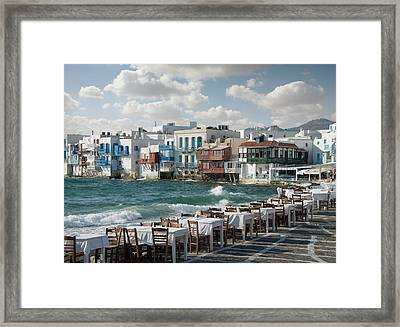 Restaurant Tables On The Mykonos Framed Print by Ed Freeman