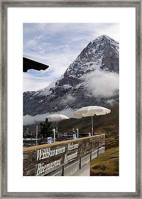 Restaurant With Mountain Framed Print